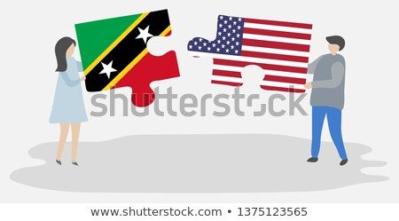 usa and saint kitts and nevis flags in puzzle stock photo © istanbul2009