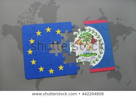 Európai szövetség Belize zászlók puzzle vektor Stock fotó © Istanbul2009
