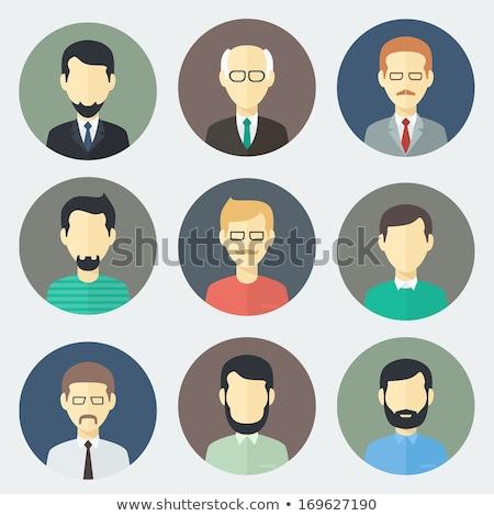 flat men characters circle icons set stock photo © anna_leni