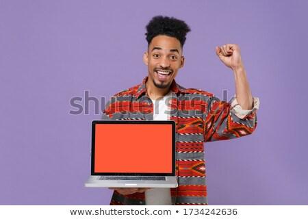 engraçado · mensagem · feliz · masculino · leitura · parque - foto stock © deandrobot