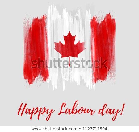 Kanada bayrak baskı grunge poster kâğıt Stok fotoğraf © stevanovicigor