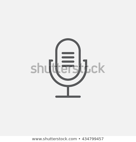 retro microphone thin line icon stock photo © rastudio