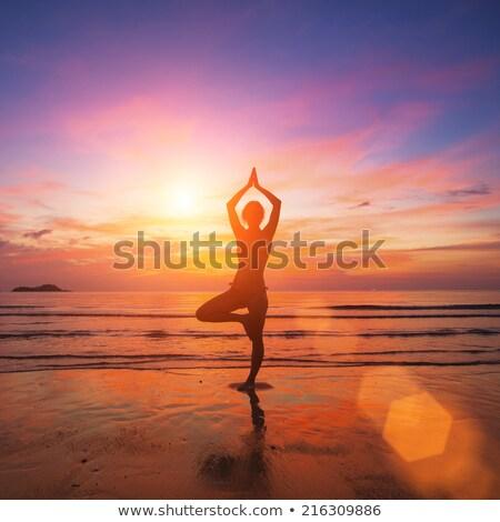 силуэта йога небе закат тело Сток-фото © ankarb