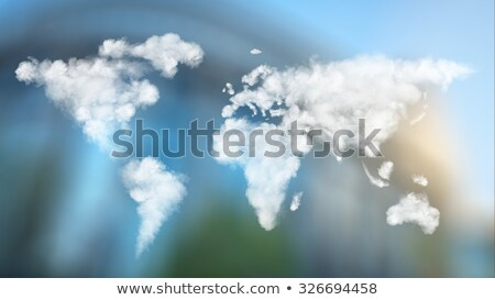 Мир · карта · белый · облака · небе · Blue · Sky · мира - Сток-фото © artjazz