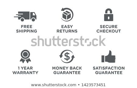 Dinero atrás garantizar botón metal signo Foto stock © rizwanali3d