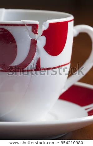 Avrupa stil kırık kahve fincanı birlikte beyaz Stok fotoğraf © AlessandroZocc