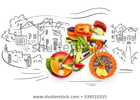 Stok fotoğraf: Bisiklet · sağlıklı · gıda · kentsel · sabit · dişli · bisiklet