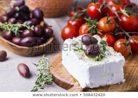 ギリシャ語 フェタチーズ 木製のテーブル 白 プレート 葉 ストックフォト © Lana_M