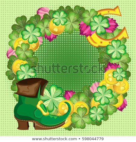 happy st patricks day golden horseshoe and quatrefoil clover on wooden board template greeting car stock photo © orensila
