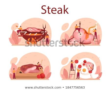 Pan fried slice of smoked ham Stock photo © Digifoodstock
