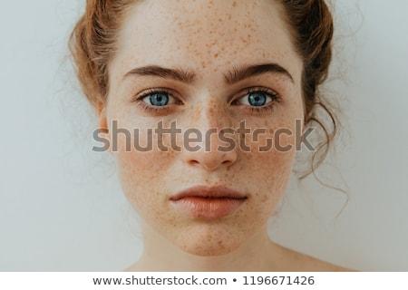 Szeplők portré fiatal vörös hajú nő nő izolált Stock fotó © sapegina