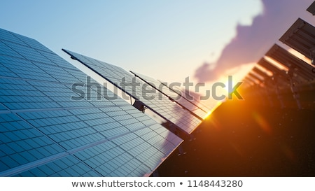 Stock photo: Sunlight on solar panels