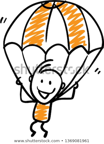 Eenvoudige schets meisje parachute illustratie witte Stockfoto © bluering