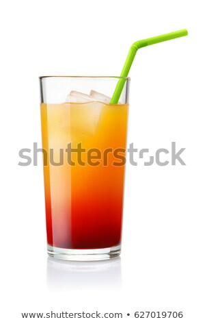 Multi colored alcohol layers cocktail in glass with straw Stock photo © orensila