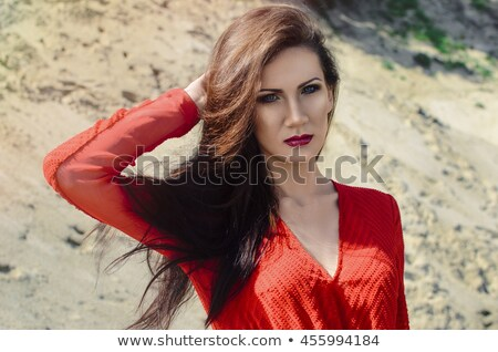 Insouciance brunette femme bleu robe Photo stock © Victoria_Andreas