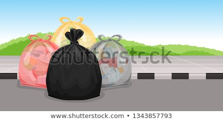 many piles of trash with plastic bags and bottles stock photo © bluering