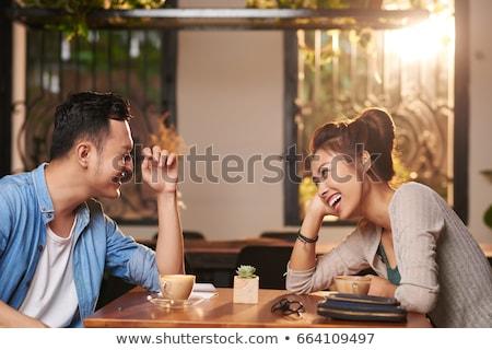 Paar Datum Kaffeehaus schauen Frau Mann Stock foto © deandrobot