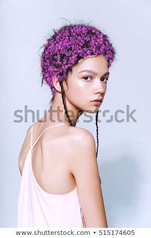 beautiful girl in pink dress with floral head accessory stock photo © svetography