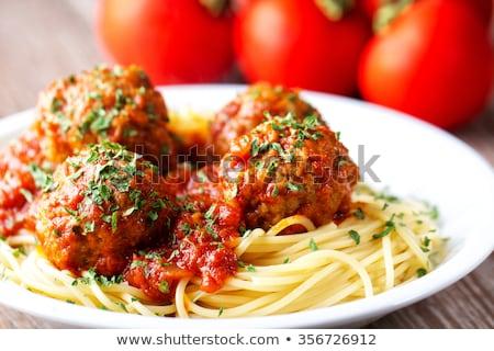 Stock fotó: Húsgombócok · paradicsomszósz · spagetti · tányér · étel · vacsora