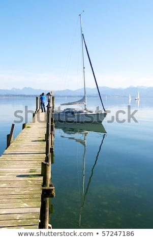 Vitorlázik hajók móló tó Stock fotó © kb-photodesign