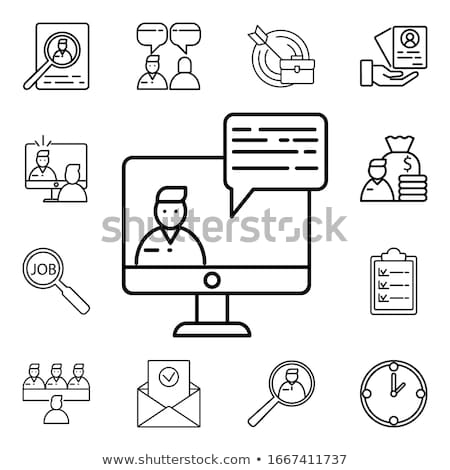 веб-дизайна · женщину · глядя · компьютер · фон · классе - Сток-фото © wad