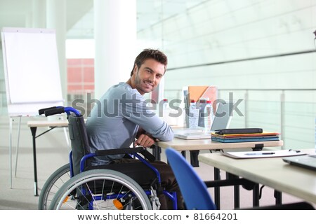 młoda · kobieta · wózek · pracy · mężczyzna · kolega · biuro - zdjęcia stock © maryvalery