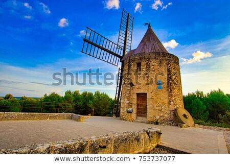 eski · değirmen · Bina · mavi · ufuk · çizgisi · panorama - stok fotoğraf © benkrut