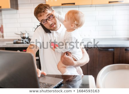 Man working in his home office Stock photo © IS2