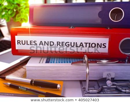 szabályok · citromsárga · iroda · mappa · kép · dolgozik - stock fotó © tashatuvango