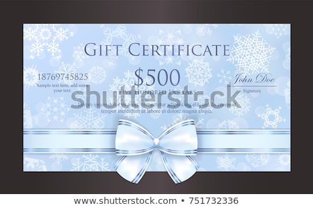Luxury baby blue Christmas gift card with white snowflakes in background and cream ribbon as decorat Stock photo © liliwhite