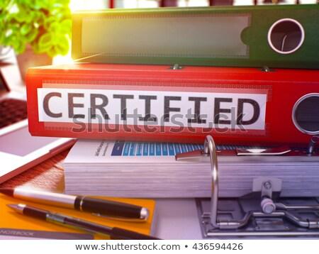Rouge bureau dossier certifié bureau Photo stock © tashatuvango