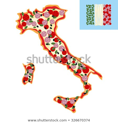 pizza in shape of a map of italy ingredients sausage cheese a stock photo © popaukropa