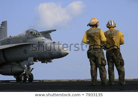 katonaság · vadászrepülő · repülőgép · föld · személyzet · pilóta - stock fotó © vilevi