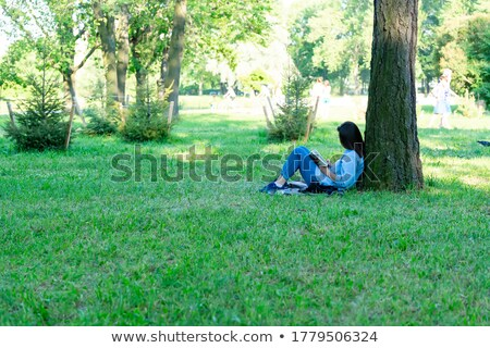 Young girl sitting in tree Stock photo © IS2