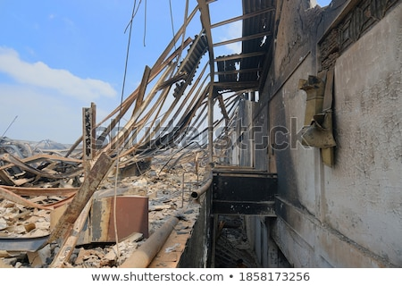 Burned metal wall after a fire Stock photo © Kotenko