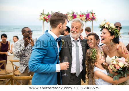mother and father with bride smiling stock photo © is2