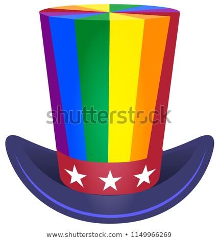çizgili gökkuşağı bayrak amca şapka simge Stok fotoğraf © orensila