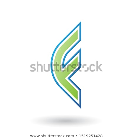 Stock photo: Green Letter F Icon with Round Corners and Outer Stripes