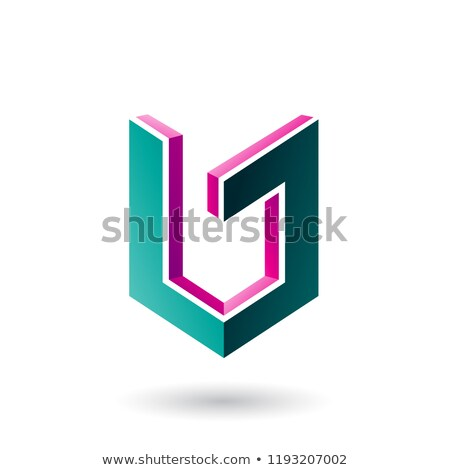 Magenta and Green Shield Like 3d Shape Vector Illustration Stock photo © cidepix