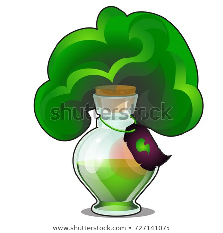 Chemical reaction in glass flask with tag isolated on white background. Laboratory experiment with r Stock photo © Lady-Luck