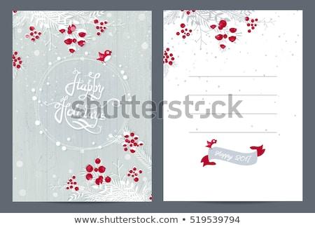 Noel vektör beyaz ahşap çam Stok fotoğraf © TarikVision
