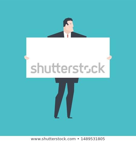 Biznesmen biały banner szef czyste Zdjęcia stock © MaryValery