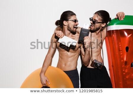 Portret dwa śmiechem muskularny półnagi bliźniak Zdjęcia stock © deandrobot
