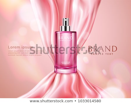 Cosmetic Bottle Ads Vector. Shiny Object. Elegant Woman. Spray, Cream. Liquid Soup, Shampoo. 3D Mock Stock photo © pikepicture
