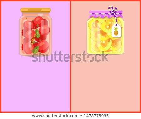 Preserved Food Posters with Tomato and Pineapple Stock photo © robuart