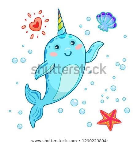 Bonitinho desenho animado kawaii arco-íris chifre olá Foto stock © MarySan