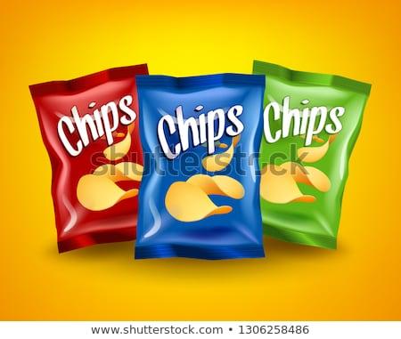 Piros sültkrumpli csomag vázlat citromsárga ropogós Stock fotó © MarySan