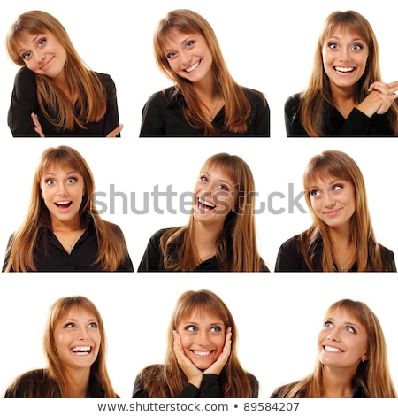 Set of blonde girl with facial expression Stock photo © bluering