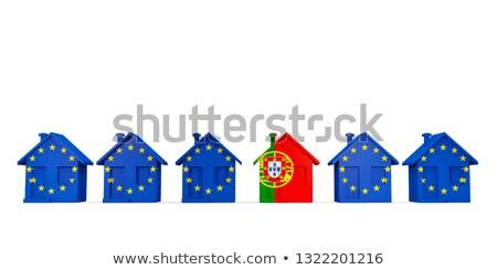 Ház zászló Portugália csetepaté EU zászlók Stock fotó © MikhailMishchenko