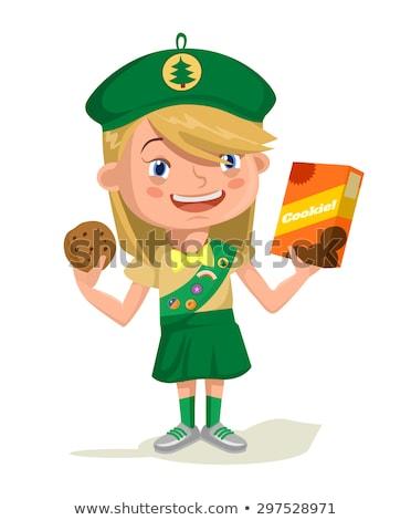 Lány felderítő karakter illusztráció mosoly háttér Stock fotó © bluering
